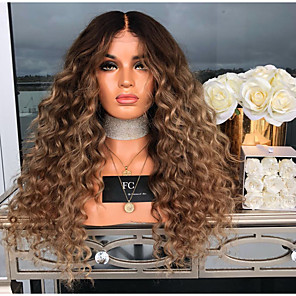cheap Synthetic Trendy Wigs-Synthetic Wig Jerry Curl Asymmetrical Wig Long Brown Synthetic Hair 27 inch Women's Middle Part Fluffy Brown