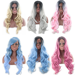 cheap Synthetic Trendy Wigs-Synthetic Wig Body Wave Asymmetrical Wig Blonde Pink Long Blonde Grey Pink Black / Pink Black / Blue Synthetic Hair 27 inch Women's Color Gradient Best Quality Blonde Pink