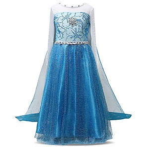 cheap Movie & TV Theme Costumes-Kids Girls' Color Block Dress Blue