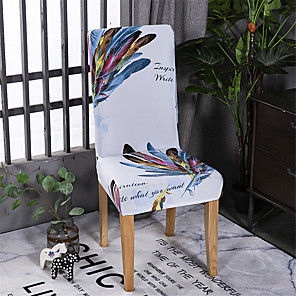cheap Chair Cover-Feather Chair Cover Stretch Removable Washable Dining Room Chair Protector Slipcovers Home Decor Dining Room Seat Cover