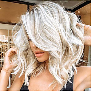 cheap Synthetic Lace Wigs-Synthetic Wig kinky Straight Asymmetrical Wig Blonde Medium Length Blonde Synthetic Hair 15 inch Women's Blonde