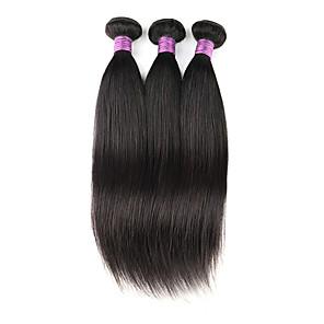 cheap Human Hair Weaves-3 Bundles Hair Weaves Indian Hair Straight Human Hair Extensions Remy Human Hair 100% Remy Hair Weave Bundles 300 g Natural Color Hair Weaves / Hair Bulk Human Hair Extensions 8-28 inch Natural Color