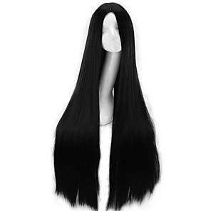 cheap Costume Wigs-Synthetic Wig Curly Asymmetrical Wig Very Long Natural Black Synthetic Hair 39 inch Women's Best Quality Black