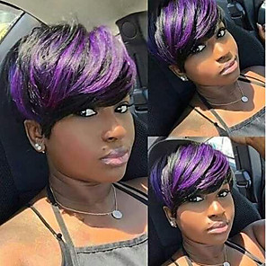 cheap Synthetic Trendy Wigs-Synthetic Wig Curly kinky Straight Asymmetrical Wig Short Black / Purple Synthetic Hair 6 inch Women's Best Quality Black Purple