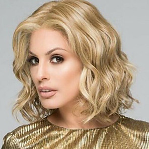 cheap Synthetic Trendy Wigs-Synthetic Wig Wavy Asymmetrical Wig Blonde Short Light Blonde Synthetic Hair 12 inch Women's Best Quality Middle Part Blonde