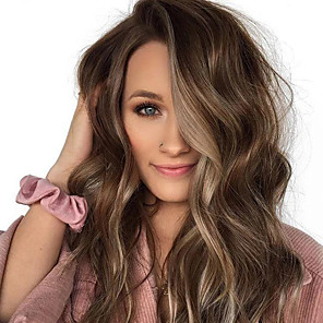 cheap Synthetic Trendy Wigs-Synthetic Wig Body Wave Asymmetrical Wig Medium Length Brown Synthetic Hair 17 inch Women's Best Quality Middle Part Brown
