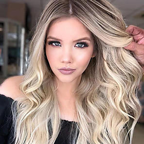 cheap Human Hair Capless Wigs-Synthetic Wig Body Wave Asymmetrical Wig Blonde Long Blonde Synthetic Hair 27 inch Women's Blonde