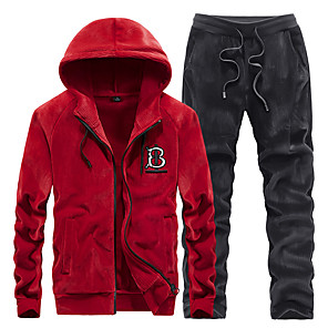 cheap Fitness Gear & Accessories-Men's 2-Piece Embroidered Velvet Tracksuit Sweatsuit Jogging Suit 2pcs Winter Front Zipper Hooded Running Fitness Jogging Thermal / Warm Breathable Soft Sportswear Athletic Clothing Set Long Sleeve