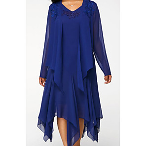 cheap Wedding Wraps-Two Piece Mother of the Bride Dress Elegant V Neck Knee Length Chiffon Lace Long Sleeve with Draping 2020