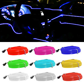 cheap Car Body Decoration & Protection-5M/lot Flexible Car Interior Lighting LED Strip Garland Wire Rope Tube Line Neon Light With USB Drive controller 8 colors 12v