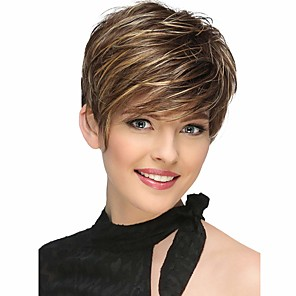 cheap Synthetic Trendy Wigs-Synthetic Wig Bangs Natural Straight Side Part Wig Short Brown / Burgundy Synthetic Hair 12 inch Women's Fashionable Design Women Synthetic Brown