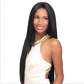 cheap Synthetic Lace Wigs-Synthetic Wig Straight kinky Straight Asymmetrical Wig Long Natural Black Synthetic Hair 27 inch Women's Best Quality Black