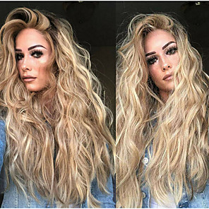 cheap Synthetic Trendy Wigs-Synthetic Wig Body Wave Asymmetrical Wig Blonde Long Blonde Synthetic Hair 27 inch Women's Fluffy Blonde