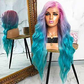 cheap Synthetic Trendy Wigs-Synthetic Wig Body Wave Asymmetrical Wig Long Ombre Green Synthetic Hair 27 inch Women's Middle Part Green