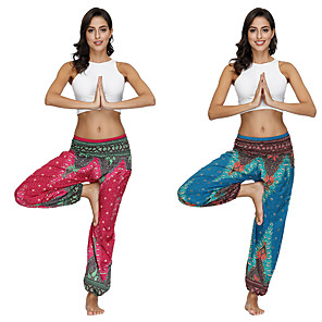 cheap Dancing Costumes-Women's Dancer Yoga Meditation Masquerade Boho Exotic Dancewear Polyster Red Green Pants