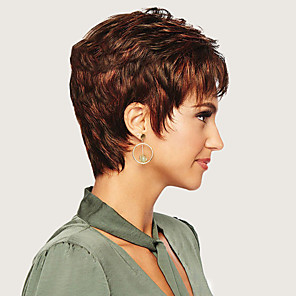 cheap Synthetic Trendy Wigs-Synthetic Wig Curly Asymmetrical Wig Short Brown Synthetic Hair 6 inch Women's Brown
