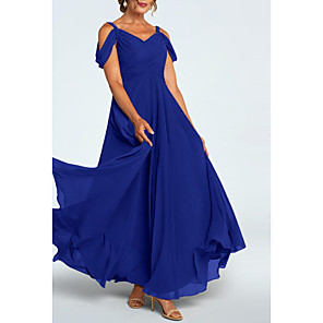 cheap Wedding Wraps-A-Line Mother of the Bride Dress Elegant Plunging Neck Ankle Length Chiffon Short Sleeve with Ruching 2020
