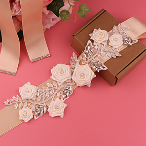cheap Party Sashes-Satin Wedding / Party / Evening Sash With Belt / Floral / Appliques Women's Sashes