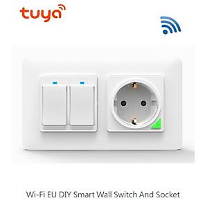 cheap Light Switches-WIFI Smart Switch / Socket Remote Control / Key Light Switch / Socket Alexa Voice Control/Easy to Install / Wireless use / WIFI Control Wireless 100-240 V