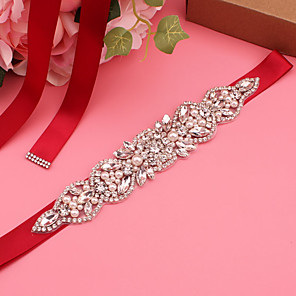 cheap Party Sashes-Satin Wedding / Party / Evening Sash With Imitation Pearl / Belt / Appliques Women's Sashes