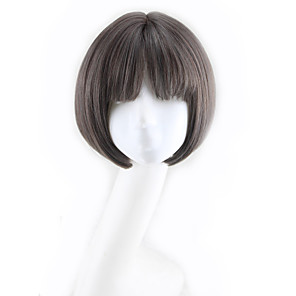 cheap Synthetic Trendy Wigs-Synthetic Wig Curly Bob Asymmetrical Wig Short Natural Black Synthetic Hair 11 inch Women's Best Quality Black