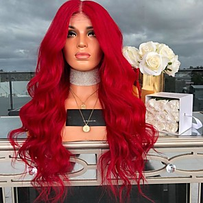 cheap Synthetic Trendy Wigs-Synthetic Wig Wavy Asymmetrical Wig Long Red Synthetic Hair 27 inch Women's Red