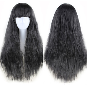 cheap Synthetic Trendy Wigs-Synthetic Wig Curly Asymmetrical Wig Long Natural Black Synthetic Hair 27 inch Women's Best Quality Black