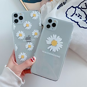 cheap iPhone Cases-Case For Apple iPhone 11 / iPhone 11 Pro / iPhone 11 Pro Max Ultra-thin / Transparent / Pattern Back Cover Word / Phrase / Transparent / Flower TPU