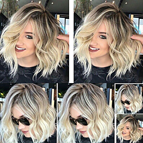cheap Synthetic Trendy Wigs-Synthetic Wig Wavy Asymmetrical Wig Blonde Medium Length Blonde Synthetic Hair 13 inch Women's Fluffy Blonde