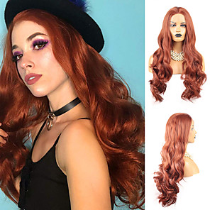 cheap Synthetic Lace Wigs-Synthetic Lace Front Wig Body Wave Middle Part Lace Front Wig Long Copper Brown Synthetic Hair 18-26 inch Women's Heat Resistant Synthetic Easy dressing Red / Natural Hairline / Natural Hairline