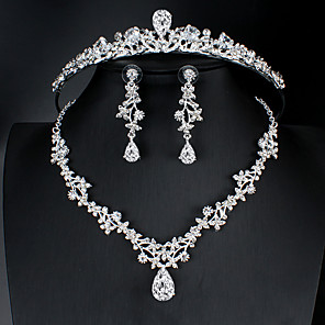 cheap Jewelry Sets-Women's White AAA Cubic Zirconia Hoop Earrings Pendant Necklace Necklace Hollow Out Drop Feather Pear Basic European Korean Sweet Cute Imitation Diamond Earrings Jewelry Silver For Wedding Party