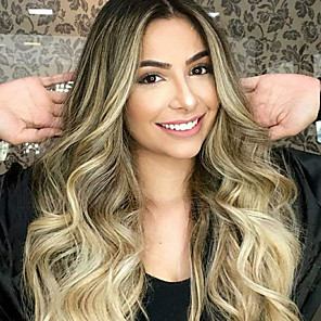 cheap Synthetic Trendy Wigs-Synthetic Wig Body Wave Asymmetrical Wig Blonde Long Blonde Synthetic Hair 27 inch Women's Best Quality Middle Part Blonde