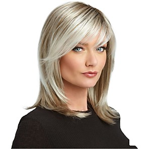cheap Synthetic Trendy Wigs-Synthetic Wig Straight Asymmetrical Wig Medium Length Black / Blonde Synthetic Hair 17 inch Women's Best Quality White
