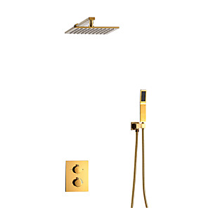 cheap Bathroom Sink Faucets-Shower Faucet Set - Ceiling Shower with Handshower Included Contemporary Other Ceramic Valve Bath Shower Mixer Taps Brass
