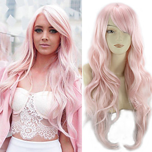 cheap Synthetic Trendy Wigs-Synthetic Wig Curly Asymmetrical Wig Pink Long Pink Synthetic Hair 27 inch Women's Best Quality Pink