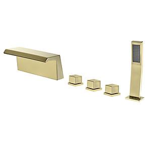 cheap Bathtub Faucets-Bathtub Faucet - Contemporary Electroplated Roman Tub Brass Valve Bath Shower Mixer Taps / Three Handles Five Holes