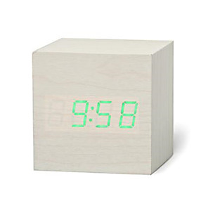 cheap Wall Clocks-New Qualified Digital Wooden LED Alarm Clock Wood Retro Glow Clock Desktop Table Decor Voice Control Snooze Function Desk Tools