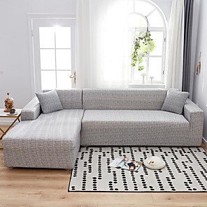cheap Rugs-Solid Grey Print Dustproof Stretch Slipcovers Stretch Sofa Cover Super Soft Fabric Couch Cover(You will Get 1 Throw Pillow Case as free Gift)