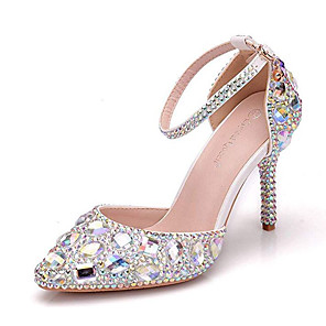 cheap Wedding Shoes-Women's Wedding Shoes Glitter Crystal Sequined Jeweled Stiletto Heel Pointed Toe Rhinestone / Crystal / Sparkling Glitter PU Vintage / Minimalism Spring &  Fall / Spring & Summer Gold / Blue / Silver