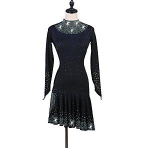 cheap Latin Dancewear-Latin Dance Dress Crystals / Rhinestones Women's Training Performance Long Sleeve High Spandex