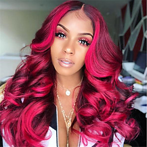 cheap Synthetic Lace Wigs-Synthetic Wig Curly Asymmetrical Wig Long Dark Red Synthetic Hair 27 inch Women's Rose Pink