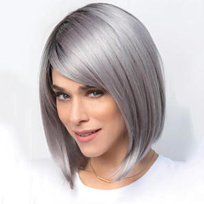 cheap Synthetic Trendy Wigs-Synthetic Wig Straight kinky Straight Bob Wig Short Brown Grey Synthetic Hair 11 inch Women's Brown Gray