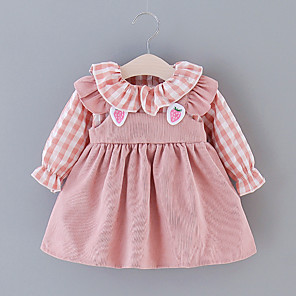 cheap Baby Girls'  Dresses-Baby Girls' Basic Color Block Embroidered Long Sleeve Above Knee Dress Blushing Pink