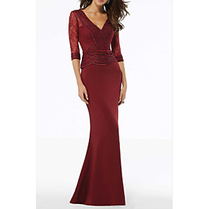 cheap Evening Dresses-Sheath / Column Mother of the Bride Dress Elegant V Neck Floor Length Lace Polyester Half Sleeve with Lace Appliques 2020