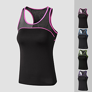cheap Exercise, Fitness & Yoga Clothing-Women's Yoga Top Patchwork Fashion Purple Fuchsia Black / Green Black / Blue Mesh Running Fitness Gym Workout Vest / Gilet Sleeveless Sport Activewear Lightweight Quick Dry Comfortable Stretchy