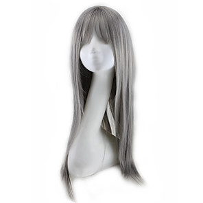 cheap Synthetic Trendy Wigs-Synthetic Wig Curly Asymmetrical Wig Long Grey Synthetic Hair 27 inch Women's Best Quality Dark Gray