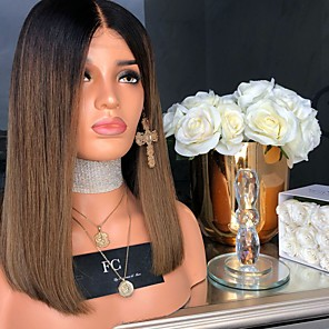 cheap Synthetic Lace Wigs-Synthetic Wig Straight Asymmetrical Wig Medium Length Black / Brown Synthetic Hair 17 inch Women's Color Gradient Best Quality Middle Part Brown