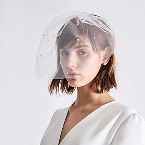 cheap Wedding Veils-One-tier Antique / Sweet Wedding Veil Blusher Veils with Faux Pearl Tulle / Classic
