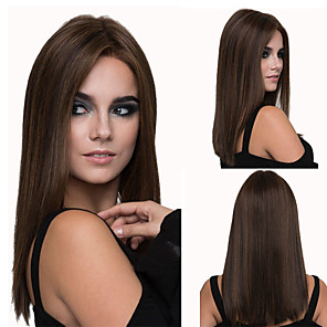 cheap Synthetic Trendy Wigs-Synthetic Wig Straight kinky Straight Asymmetrical Wig Medium Length Brown Synthetic Hair 16 inch Women's Best Quality Brown