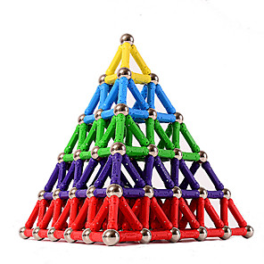 cheap Movie & TV Theme Costumes-84 pcs 5mm Magnet Toy Magnetic Sticks Building Blocks 3D Magnetic Blocks Educational Toy Plastic Magnet Magnetic Educational Pyramid STEAM Toy Kid's / Adults / Adults' Unisex Boys' Girls' Toy Gift